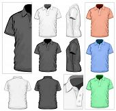 Vector. Men's polo-shirt design template (front, back and side view). No mesh. poster