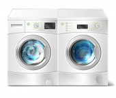 Vector realistic illustration of white front-load washer with dirty laundry inside and dryer with close door isolated on background. Modern household appliance for washing and drying clothes poster