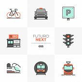 Modern flat icons set of various city transport, commute transportation. Unique color flat graphics elements with stroke lines. Premium quality vector pictogram concept for web, logo, branding, infographics. poster