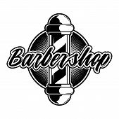 Retro hipster stylish vintage custom graphic design engraving logo icon barber shop saloon black white signboard icon with barber pole. Modern vector style illustration on old texture gray background. poster