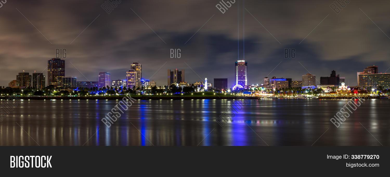 Long Beach Night Los Image Photo Free Trial Bigstock