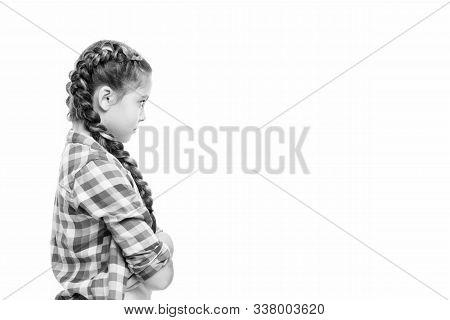 Salon That Gives You Style. Small Girl Wear Plait Hair. Little Child With Long Braids. Hair Salon Fo