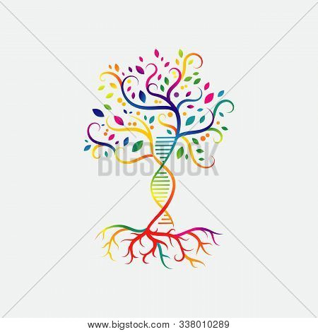Helix Dna Tree Logo Design Vector Icon. Simple Sign Nature Dna Strand Icon