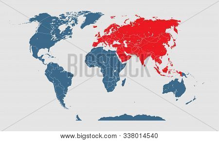 Vector world global map and template Eurasia poster