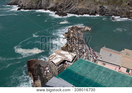 Vernazza, Italy - April 2 2018: The Above View Of The Port Of Vernazza In The National Park Of Cinqu