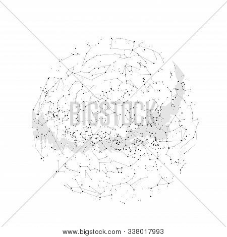True Constellations Of The Southern Hemisphere, Star Map. Science Astronomy, Star Chart On White Bac