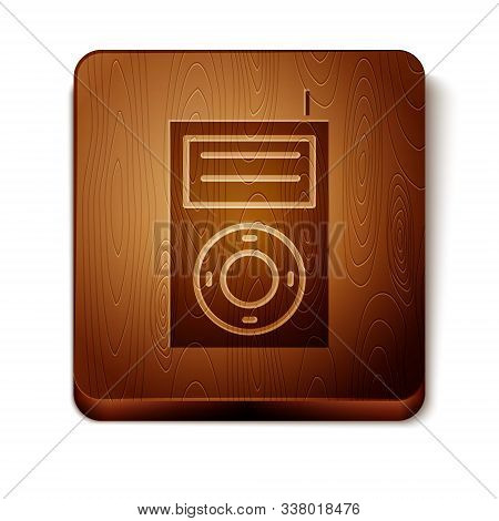 Brown Music Mp3 Player Icon Isolated On White Background. Portable Music Device. Wooden Square Butto