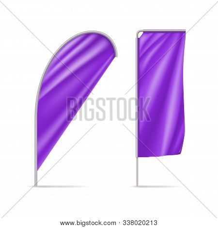 Plum Teardrop And Rectangular Flags Mockups. Realistic Stationary Expo Banners For Outdoor Presentat