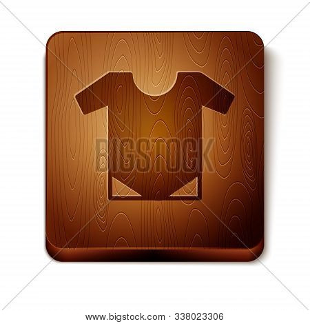 Brown Baby Onesie Icon Isolated On White Background. Baby Clothes Symbol. Kid Wear Sign. Wooden Squa
