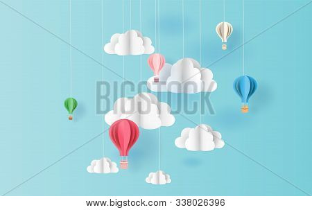 Paper Art Style Of Balloons Colorful Color Floating In Air Blue Sky Background.creative Design Space