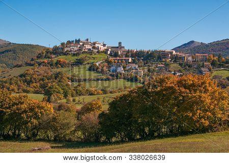 Autumn View Of Monteleone Di Spoleto Medieval Village In Valnerina, Umbria, Italy