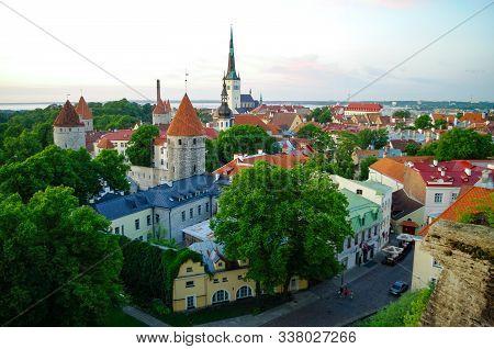 Tallinn, Estonia - June  18, 2011:  Aerial Cityscape With Medieval Old Town, St. Olaf Baptist Church
