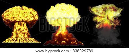 3 huge very highly detailed different phases mushroom cloud explosion of fusion bomb with smoke and fire isolated on black - 3D illustration of explosion poster