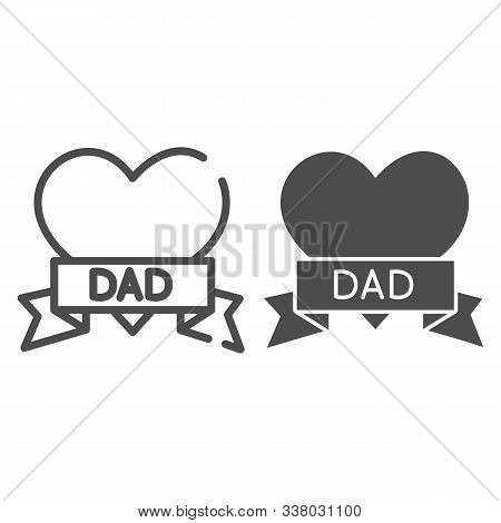 Tatoo With Dad Inscription Line And Glyph Icon. Heart Tatoo Baloons Vector Illustration Isolated On