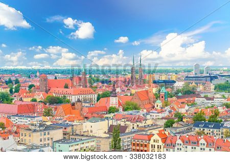 Top Aerial Panoramic View Of Old Historical City Centre Of Wroclaw: Ostrow Tumski With Collegiate Ca
