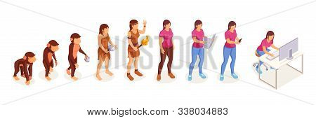 Human Evolution Of Monkey To Modern Woman At Computer, Vector Icons. Women Evolution And Life Develo