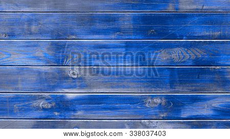 Background Blue Texture Modern Trendy, Wooden Planks Horizontal. Old Wooden Blue Boards, Texture For