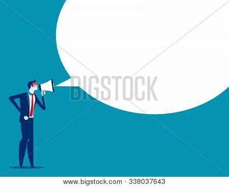 Angry Man Is Shouting Through Megaphone. Concept Business Vector, Enraged Boss, Discontent, Furious.