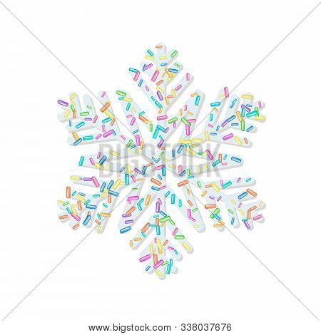 Sprinkle With Grains Of Desserts. Sprinkled Grainy Abstract Snowflake On White Background. Design Fo
