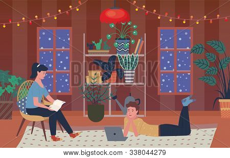 People In Winter Evening Spending Time At Home Vector, Man And Woman, Male Watching Film On Laptop A