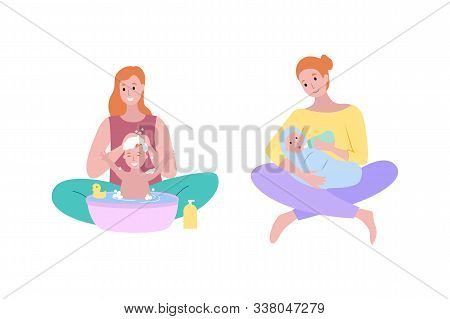 Washing babys hair with shampoo vector, woman and kid childcare and hygiene. Isolated women lady feeding newborn child with bottle milk, eating kiddo poster