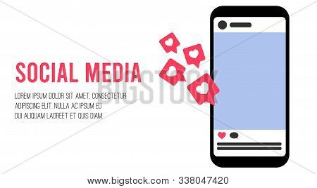 Social Media Concept With Feed, Like And Comment. Influencer Social Media Marketing Concept. Templat