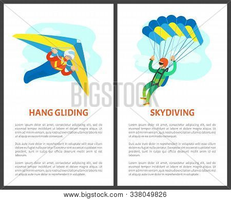 Skydiving Person Using Parachute Vector, Parachutist On Poster With Text. Hang Gliding Extreme Sport