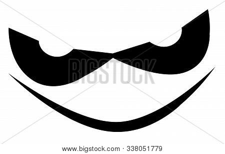 Evil Halloween Grin In Silhouette Over A White Background