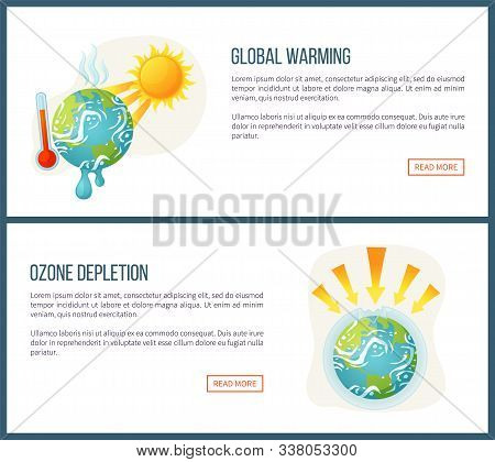 Global Warming Vector, Environmental Problems And Issues On Planet, Sunshine And Thermometer, Ozone