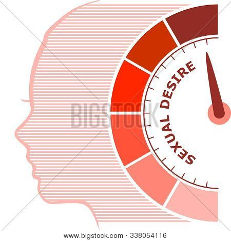Scale With Arrow. The Sexual Desire Level Measuring Device Icon. Sign Tachometer, Speedometer, Indic