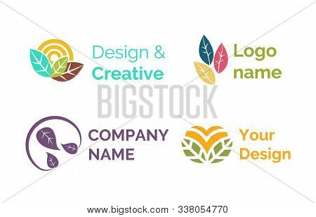 Design And Creative Logotypes For Companies Vector, Set Of Isolated Icons, Emblems With Leaves And F