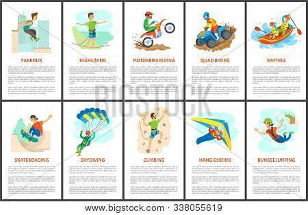 Parkour And Wall Climbing Activity Vector, Extreme Sports, Hang Gliding And Highlining, Rafting In B