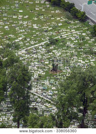 High Angle View Of The Jalan Ampang Muslim Cemetery In Kuala Lumpur, Malaysia