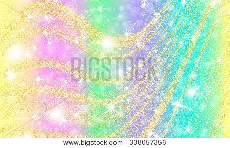 Princess Background. Gold Particles. Mermaid Rainbow. Magic Stars. Unicorn Pattern. Fantasy Galaxy.