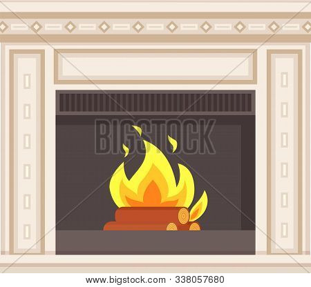 Fireplace Closeup Burning Logs Inside Of Stove Vector. Hot Fire Flames And Wooden Material, Blueston