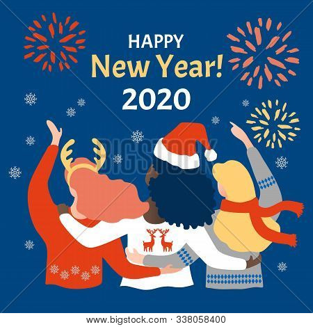 Multinational Celebration Of The New Year On Classic Blue Background . Three Happy Girls Celebrate N