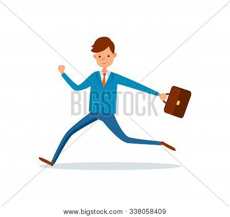 Businessman Running At Work With Briefcase In Hand. Man In Hurry, Boss Late At Office, Manager With