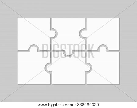 Six Blank Puzzle Pieces. Puzzle For Web, Information Or Presentation Design, Infographics. White Puz