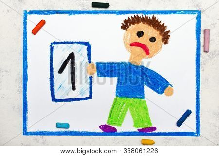 School Grades. Sad Student With Exam Or Test Result.boy Holding Report Card With 1 Grade.  Photo Of