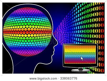 Visual Computer Stress. Screen Time And Sensory Overload In The Office Or At Home Affecting Brain An