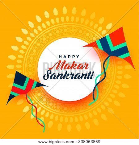 Beautiful Makar Sankranti Festival Card With Two Kite