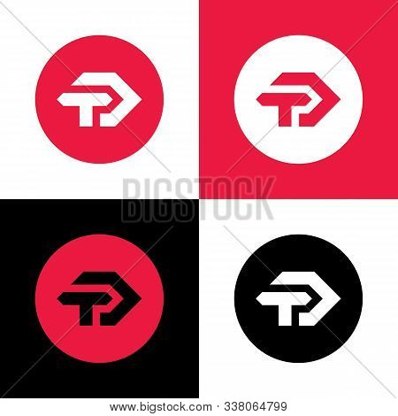 Initial Letter Td Or Dt Logo Icon, Triangle Shape Letters On Circle Background - Vector