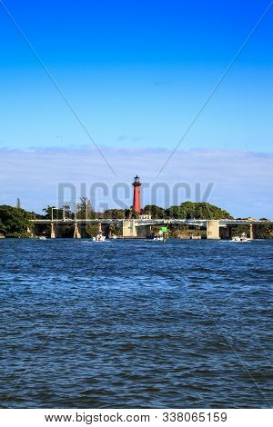Jupiter Inlet Lighthouse From Across The Water In Jupiter