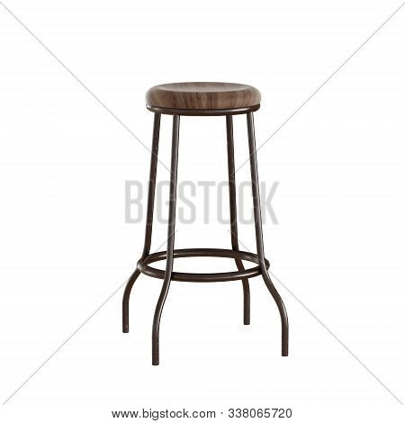 High Bar Stool With Wood Seat And Metal Legs On An Isolated Background. 3d Rendering
