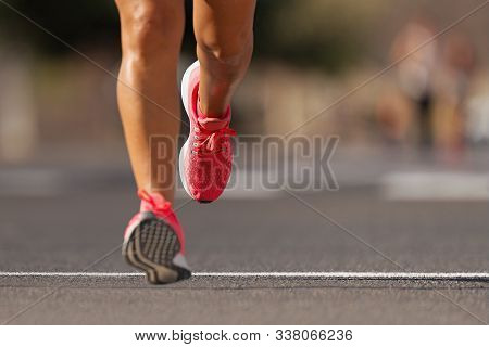 Athlete Runner Feet Running On Road Close Up On Shoe , Marathon Running Race