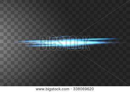Blue Horizontal Lens Flares Pack. Laser Beams, Horizontal Light Rays.beautiful Light Flares. Glowing