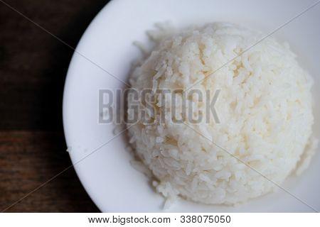 Jasmine Rice Serve On A Plate, Steamed White Rice , Thai Food
