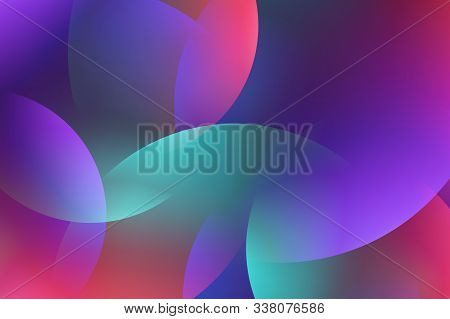 Background From Abstract Turquoise Lilac Circles Or Balls Similar To Flickering Lights In Defocus. G