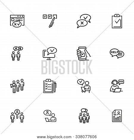 Survey Line Icon Set. Whipping Votes, Checkmark, Questionnaire. Customer Assessment Concept. Can Be