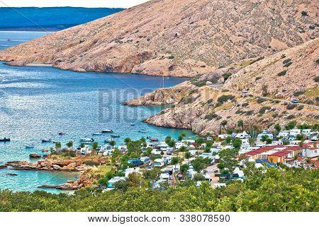 Krk. Camping By The Sea On Stara Baska Cliffs, Krk Island Tourist Destination In Croatia